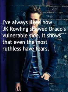 While I never believed that Draco was completely ruthless, the point here is that villains with no soft spots are unbelievable. They fall flat, no matter how horrid they are .